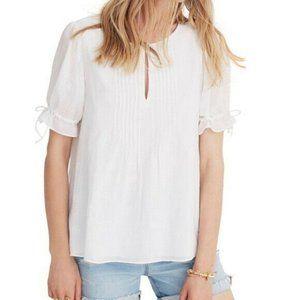 Madewell White Pintuck Shirt Embroidered Medium